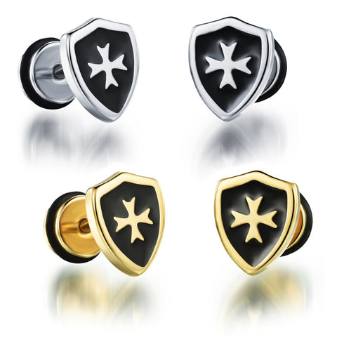 Man's titanium steel ear nails shield Cross ear nails Artichoke pattern Epoxy ear ornaments-Color White - Harvey & Haley  - 1