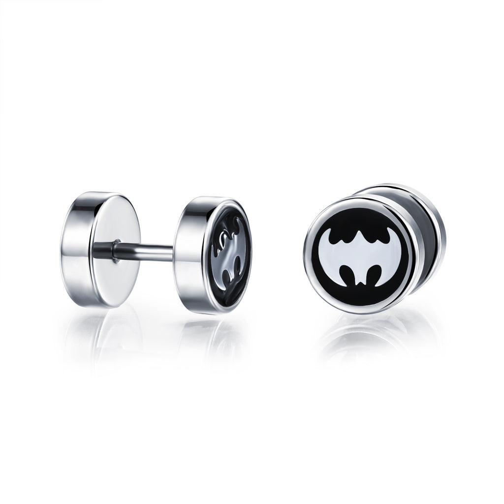 Man's titanium steel ear nails Flat and round Drop oil batman Earrings - Harvey & Haley  - 1