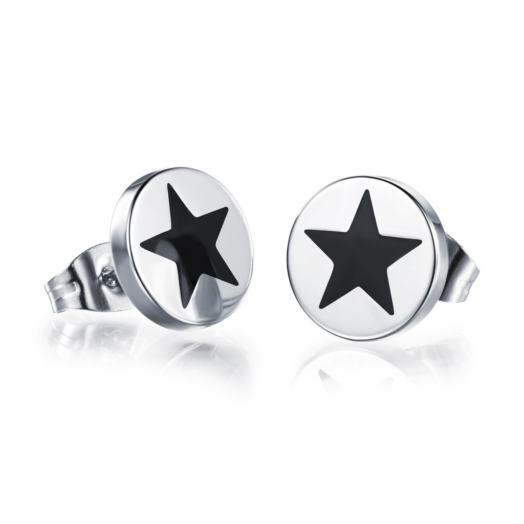 Man's titanium steel ear nails Flat and round Drop oil pentagram earrings - Harvey & Haley  - 1