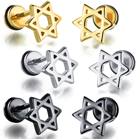 Man's titanium steel ear nails personal concise Hollow Hexagram ear ornaments-Color White - Harvey & Haley  - 1