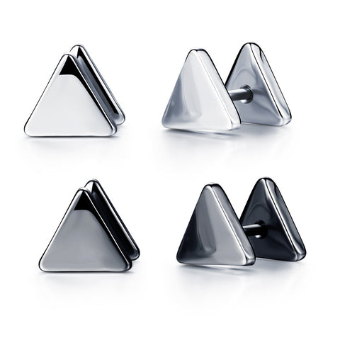 Simple triangular ear nails auger-type earrings creation Anti-allergy ear ornaments-Color Black - Harvey & Haley  - 1