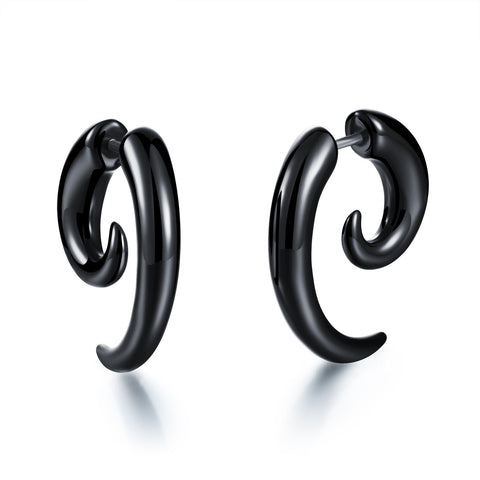 Acrylic black snail ear rings and ear nails Punk style piercing decorations - Harvey & Haley  - 1