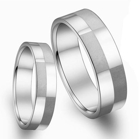 Titanium steel couple rings Square matting -one for women only-Size 5 - Harvey & Haley  - 1