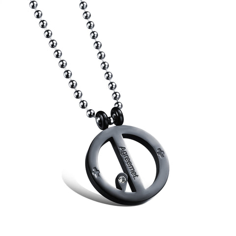 Circle pendant Couple 2 in 1 titanium steel decorations for man only - Harvey & Haley  - 1