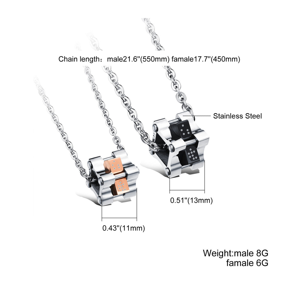 Square pendant Couple magic cube rotating Male and female couple titanium steel combined decorations - Harvey & Haley  - 1