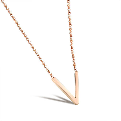 V type short clavicle pendant necklace Lady's rose gold plated titanium steel pendant - Harvey & Haley  - 1