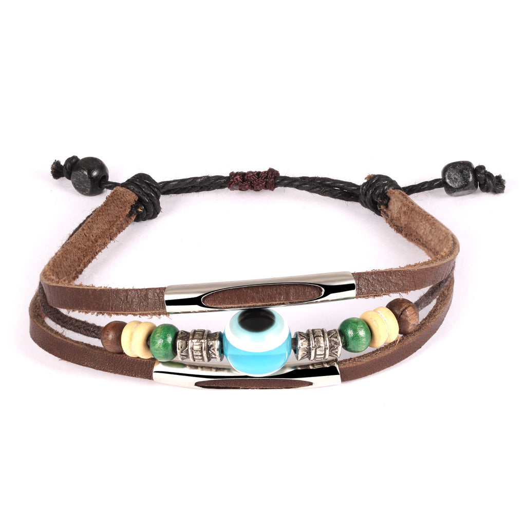 Handmade personal Man's leather handchain Trendsetter hand string blue eyes decorations Breaded decorations for hand Multi layers - Harvey & Haley  - 1