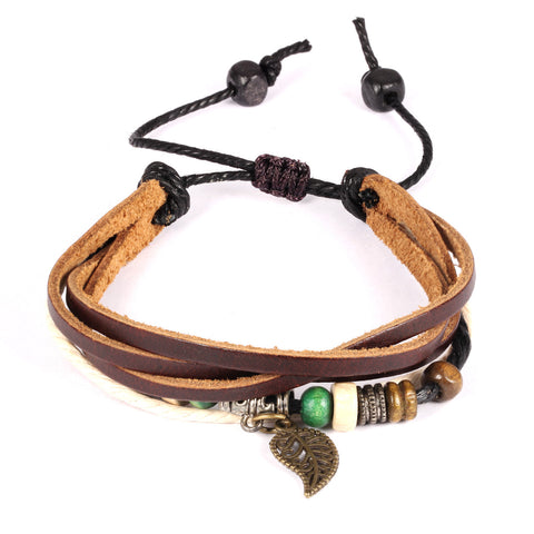 New style Personal fashion Bohemia wind multi leaves pendant leather handchain Adjustable Length - Harvey & Haley  - 1