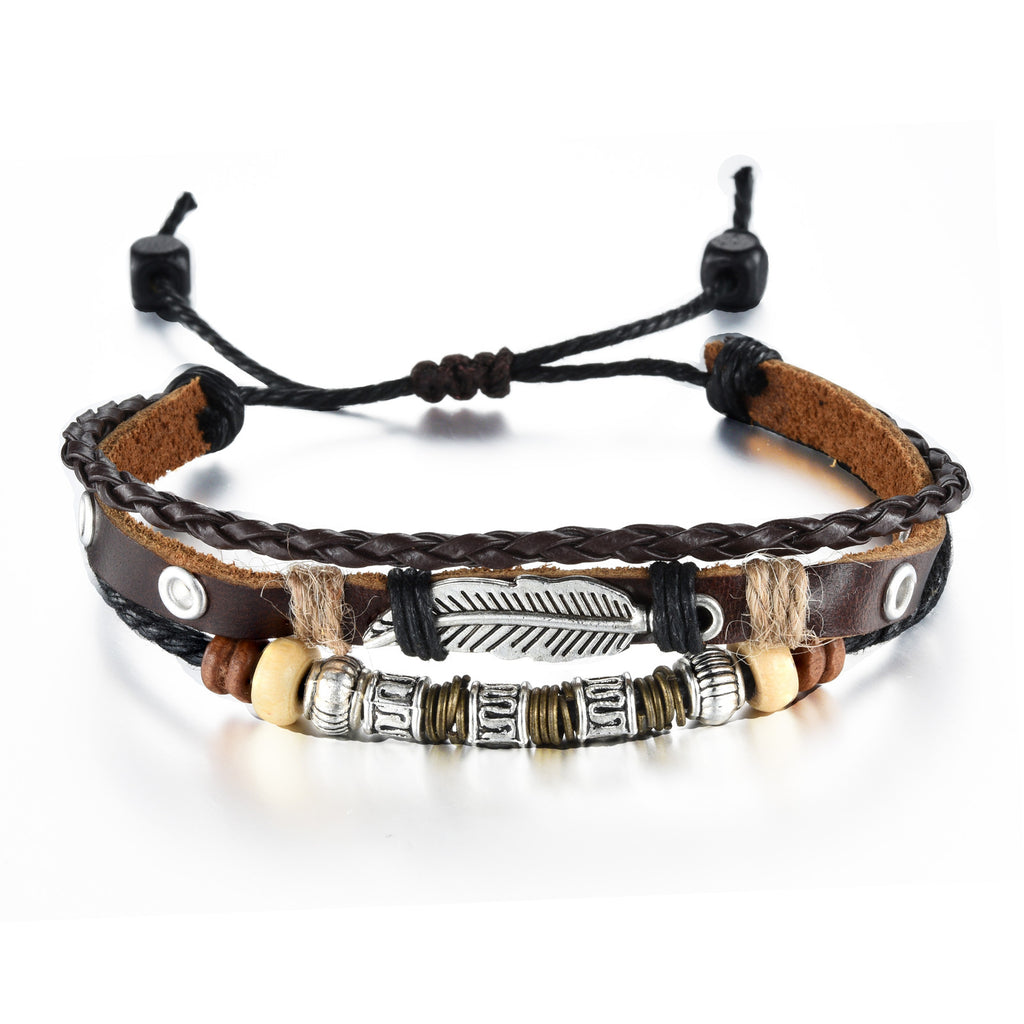 New style Handmade woven cowhide man and woman leather handchain Multilayer wood breads bronze national wrist strap - Harvey & Haley  - 1