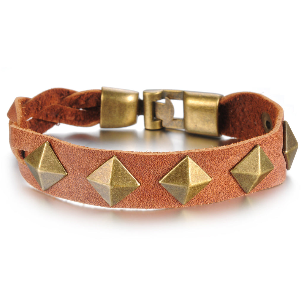 European and American retro rivets wrist strap Bronze alloy Man's leather bracelet - Harvey & Haley  - 1