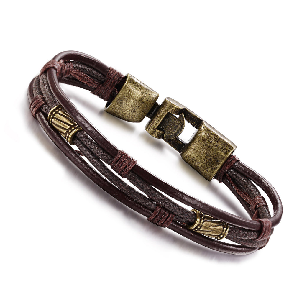 Retro fashion personal leather belt bracelet Bronze alloy buckle wrist strap - Harvey & Haley  - 1