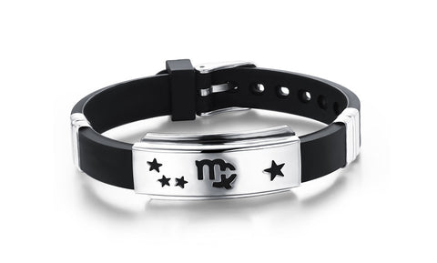 Titanium steel and silicone wrist strap with 12 constellation Wristband Adjustable