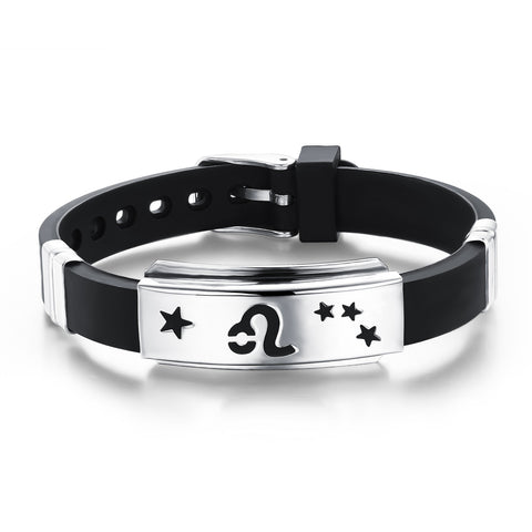 Titanium steel and silicone wrist strap with 12 constellation Wristband Adjustable - Harvey & Haley