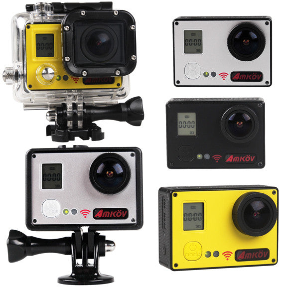 AMKOV AMK7000S Wifi Action Sports Camera 1080P 4K 20MP Waterproof 4-Color Gold