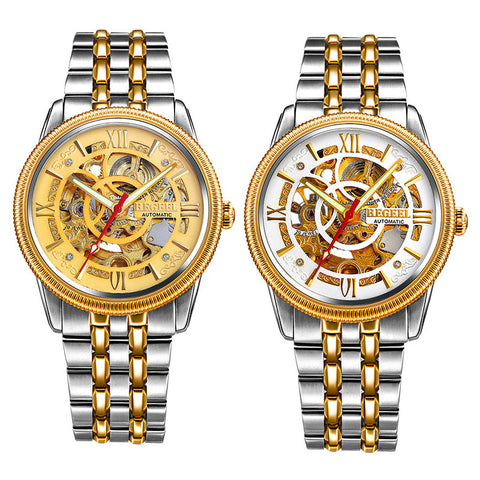 BEGEEL 24K gold genuinely diamondl hollow man's mechanical watch-Dial White
