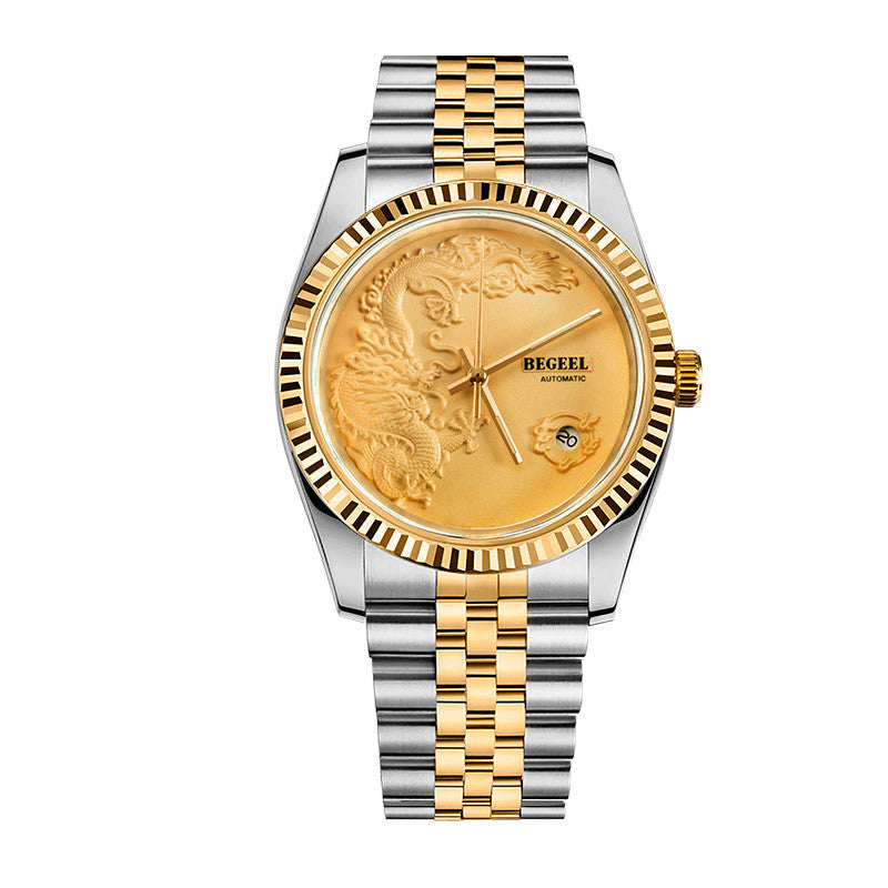 BEGEEL 24K gold fortune dragon and tiger Chinese wind limited edition watch for man
