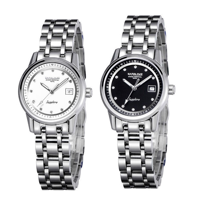 Automatic mechanical business casual noctilucent waterproof watch for Women-Dial White