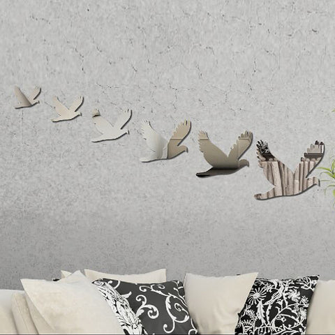 6 peace doves mirror wall solid sticker -SILVER - Harvey & Haley  - 1