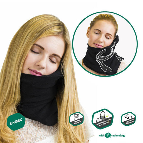 Travel household ultra-soft neck support pillow napping pillow -BLACK - Harvey & Haley  - 1