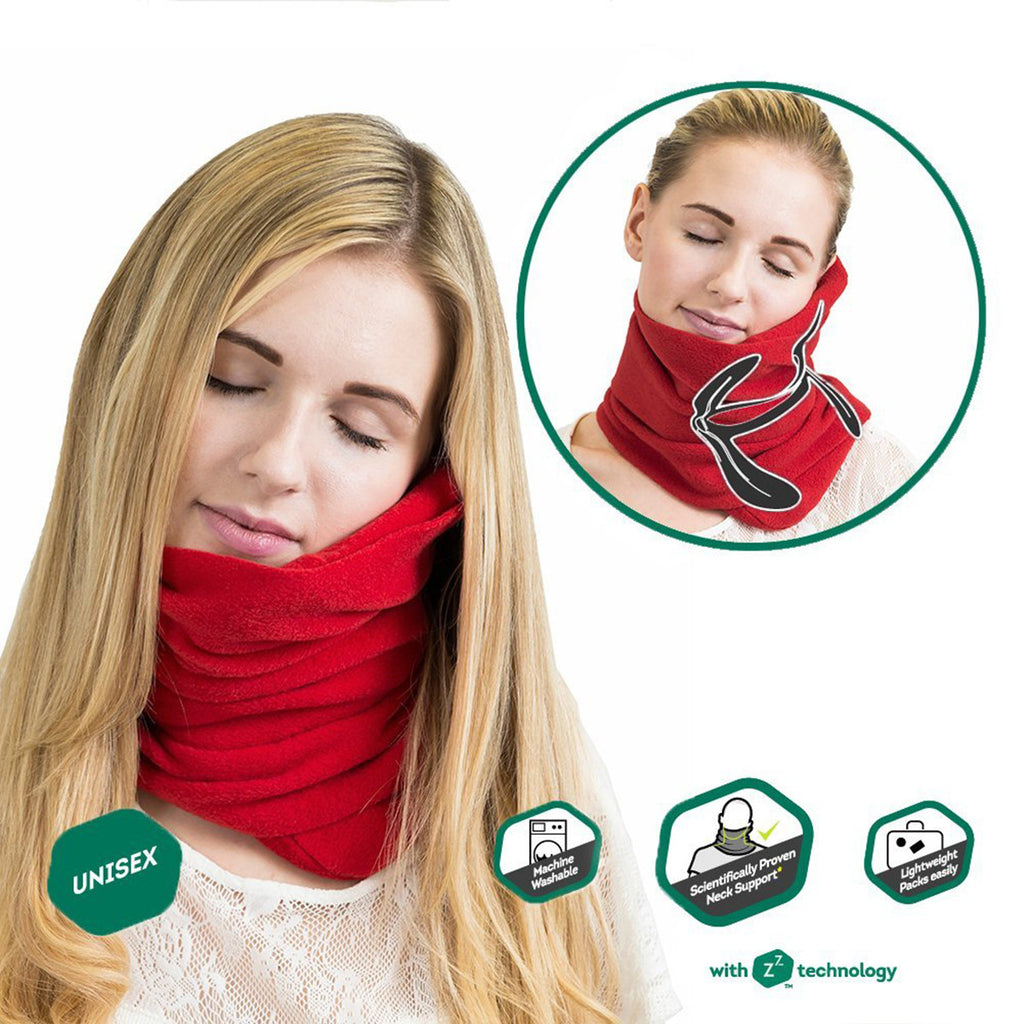 Travel household ultra-soft neck support pillow napping pillow -RED - Harvey & Haley  - 1