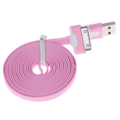 Flat 30-Pin Male to USB 2.0 Male Data Sync   Charging Cable for Iphone 4   4S   Ipad 2   3 - Pink - Harvey & Haley  - 1