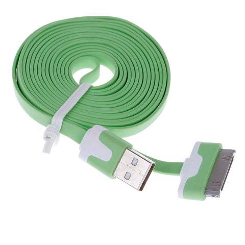 Flat 30-Pin Male to USB 2.0 Male Data Sync   Charging Cable for Iphone 4   4S   Ipad 2   3 - Green - Harvey & Haley  - 1