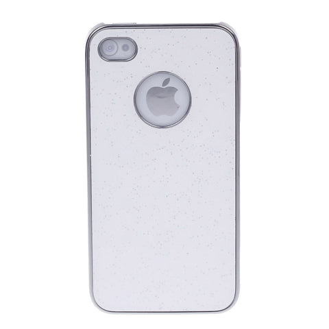 Fashionable Shiny Protective Plastic Back Case for Iphone 4   4S - White  Silver - Harvey & Haley  - 1