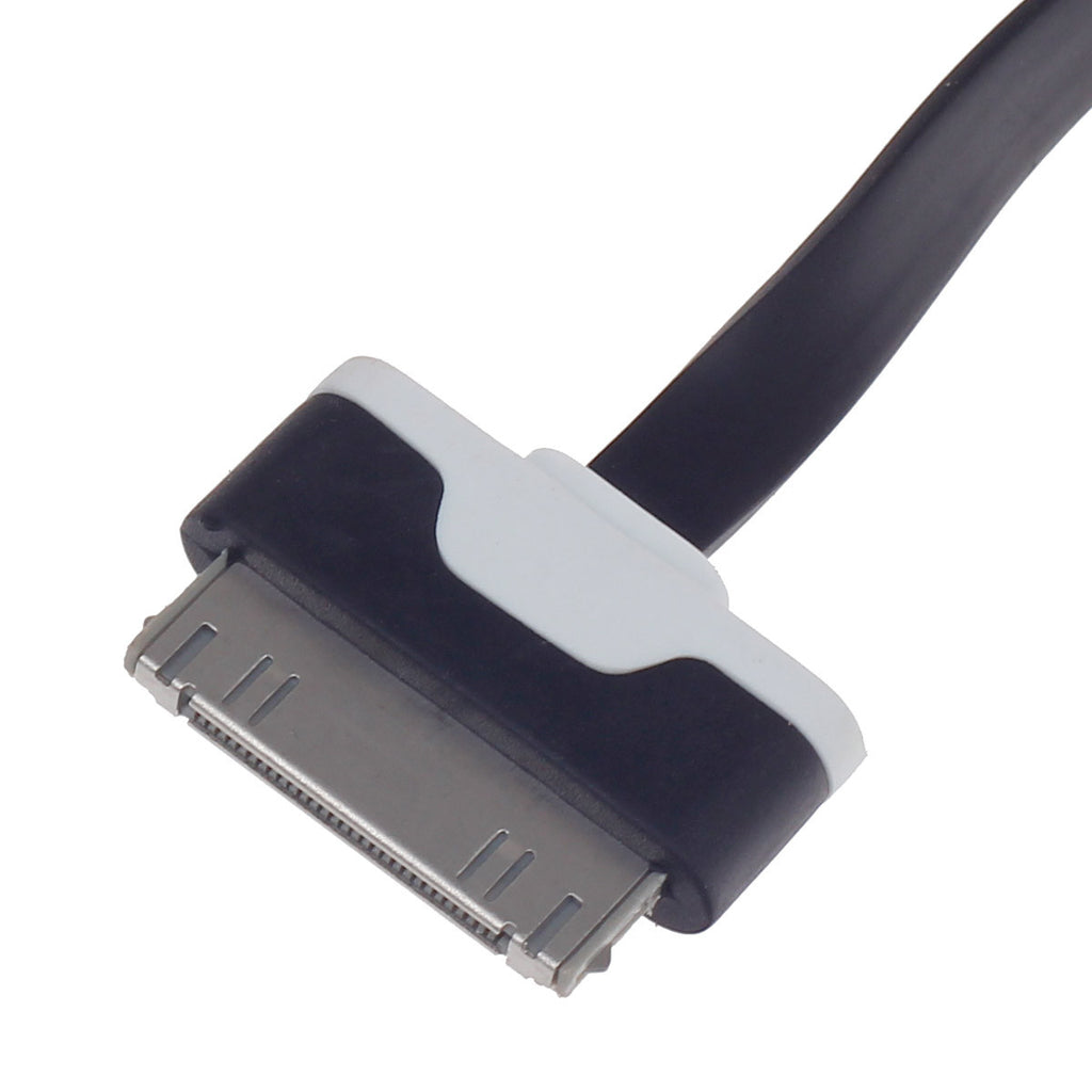 Flat 30-Pin Male to USB 2.0 Male Data Sync   Charging Cable for Iphone 4   4S   Ipad 2   3 - Black - Harvey & Haley  - 1