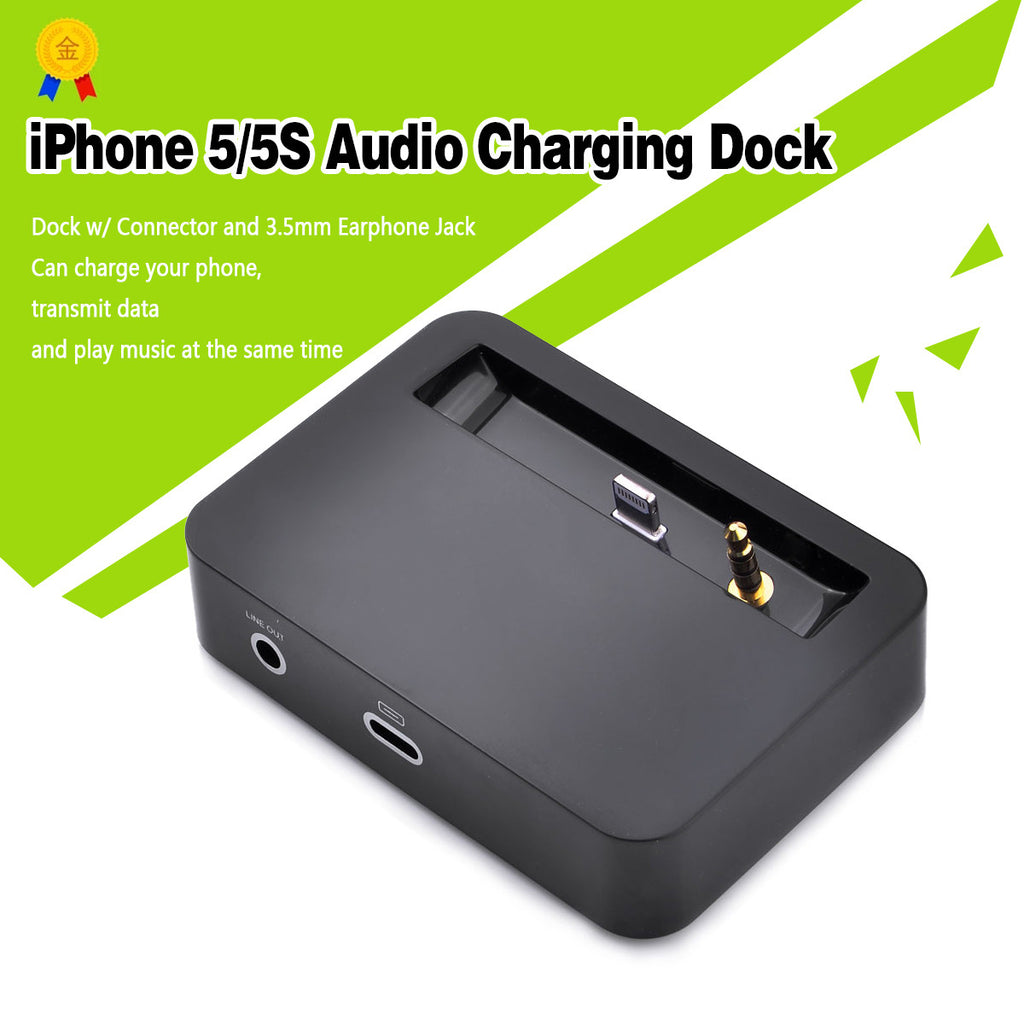 USB Data Sync Charging Dock Station Audio Output For iPhone 5 5S-Black - Harvey & Haley  - 1