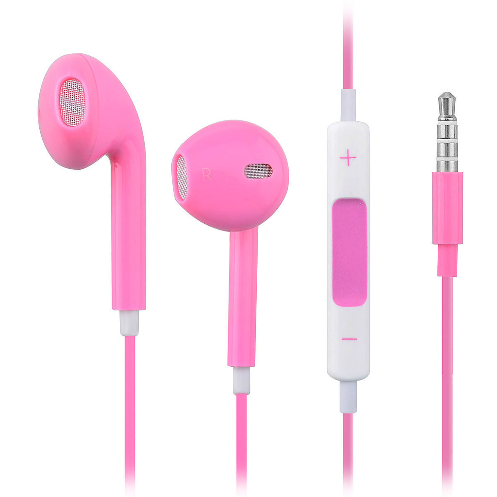 Earphone Headphone With Mic and Volume Control In Retail Box For iPhone 4 4S 5-Pink - Harvey & Haley  - 1