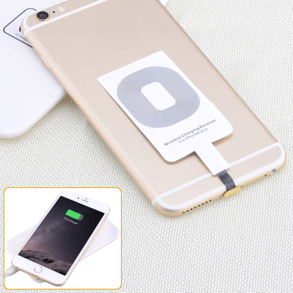 Qi Standard Wireless Phone Charging Receiver for iPhone6   iPhone6 Plus  More - White - Harvey & Haley  - 1