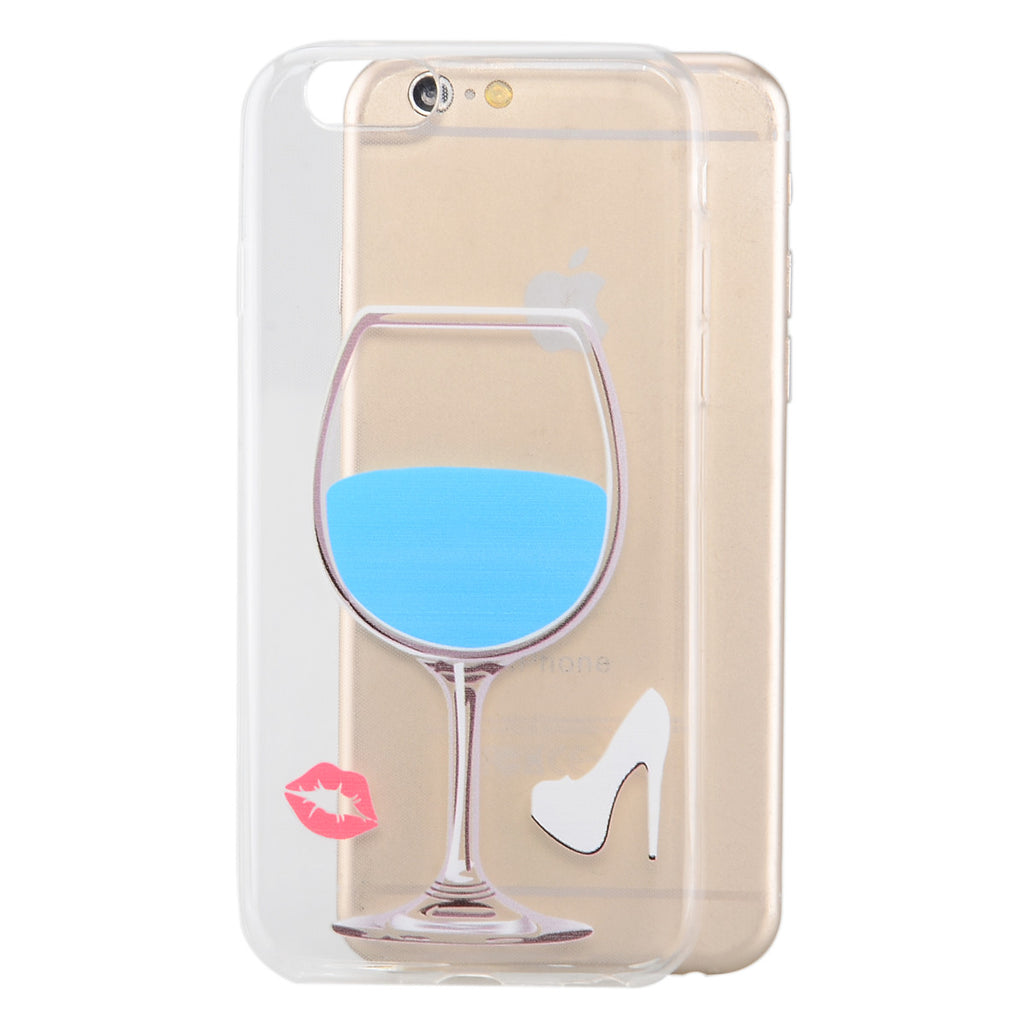 "Wine Glass Pattern Protective Back Case for iPhone6 6S 4.7 -  Transparent  Blue"" - Harvey & Haley  - 1"