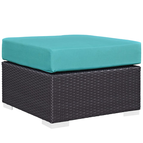 Convene Outdoor Patio Fabric Square Ottoman - Harvey & Haley