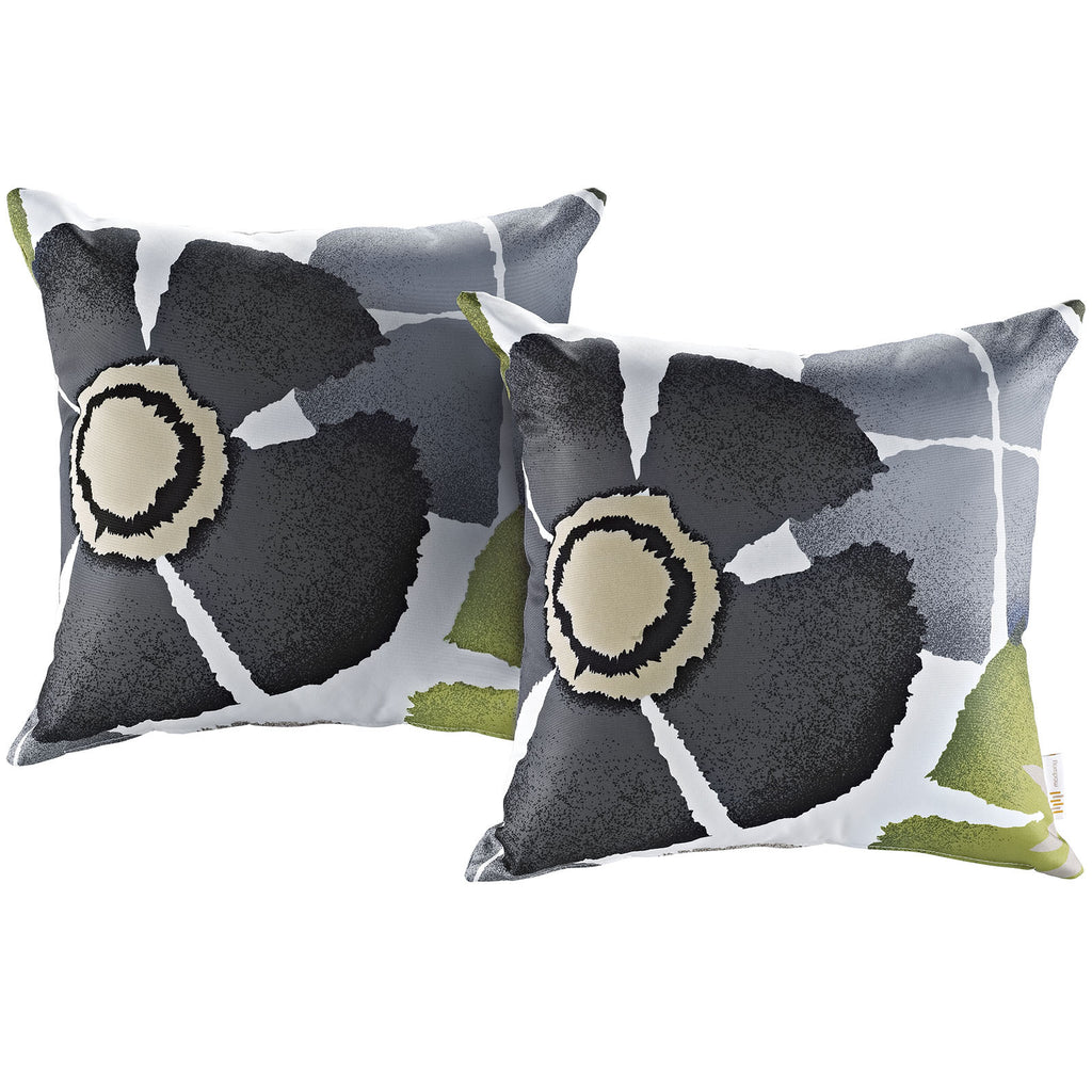 LexMod Modway Two Piece Outdoor Patio Pillow Set in Botanical - Harvey & Haley