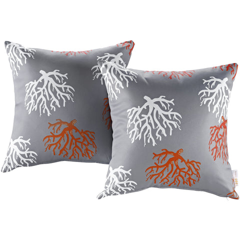LexMod Modway Two Piece Outdoor Patio Pillow Set in Orchard