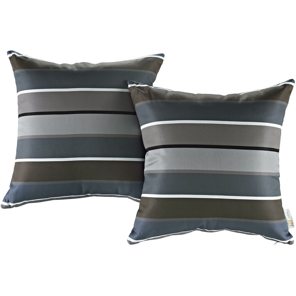 LexMod Modway Two Piece Outdoor Patio Pillow Set in Stripe - Harvey & Haley