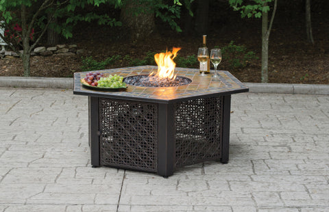 Lp Gas Outdoor Firebowl With Slate Tile Mantel - Harvey & Haley