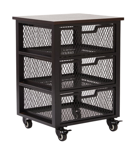 OSP Designs Garret Black 3 Drawer Rolling Cart with Espresso Wood Top, Fully Assembled. - Harvey & Haley