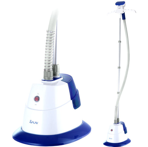 Salav Performance Garment Steamer with 360 Swivel Hanger, Dual Insulated Hose, Blue - Harvey & Haley  - 1