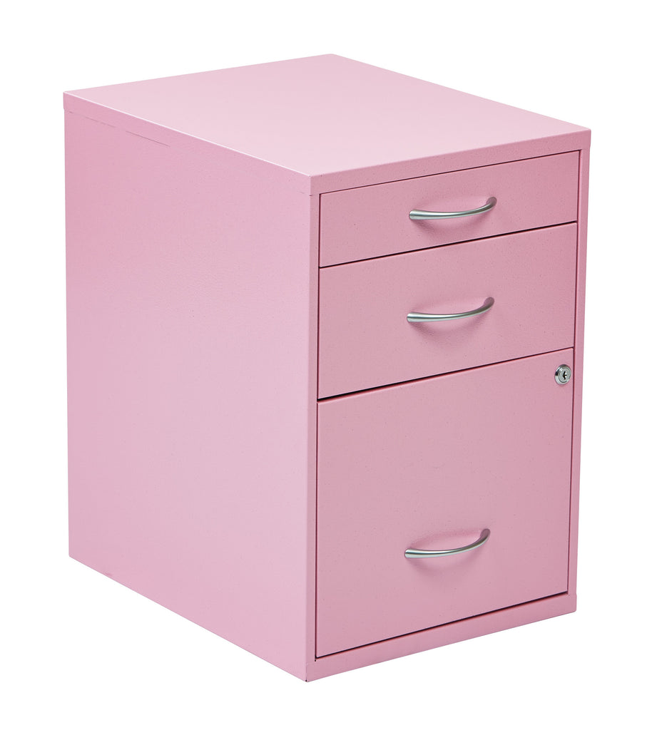 "OSP Designs 22"" Pencil, Box, Storage File Cabinet in Pink Finish - Harvey & Haley"
