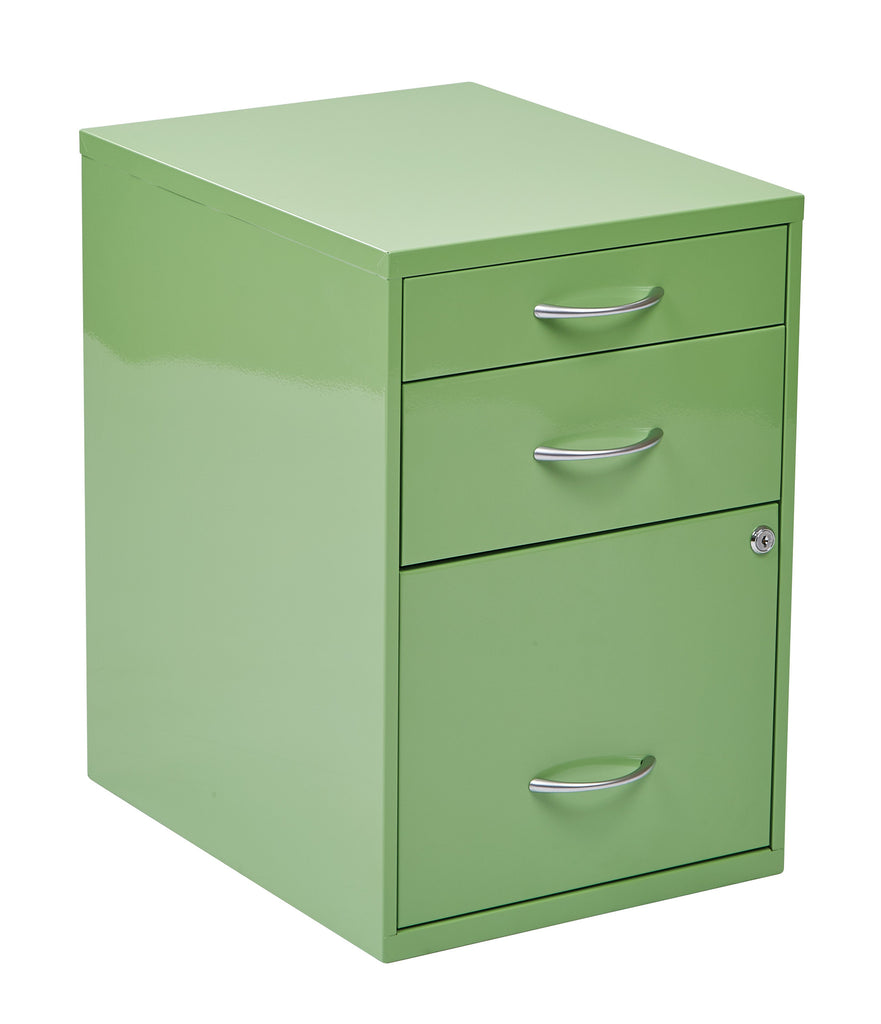 "OSP Designs 22"" Pencil, Box, Storage File Cabinet in Green Finish - Harvey & Haley"