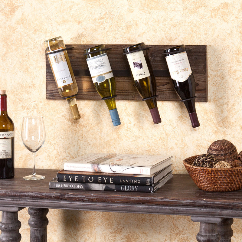 Saxon Wall Mount Wine Storage, Weathered Oak - Harvey & Haley  - 1