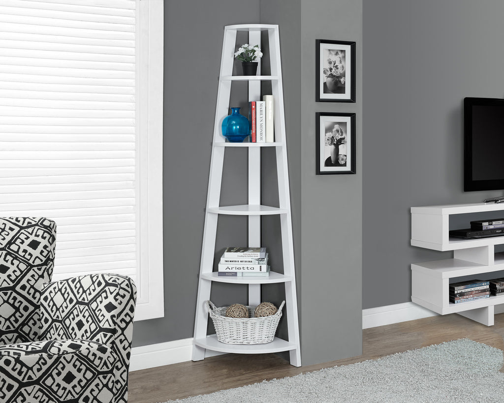 "Bookcase - 72""H / White Corner Accent Etagere - Harvey & Haley"