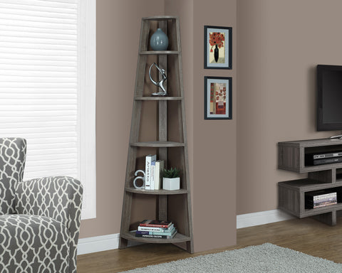 "Bookcase - 72""H / Dark Taupe Accent Etagere - Harvey & Haley"