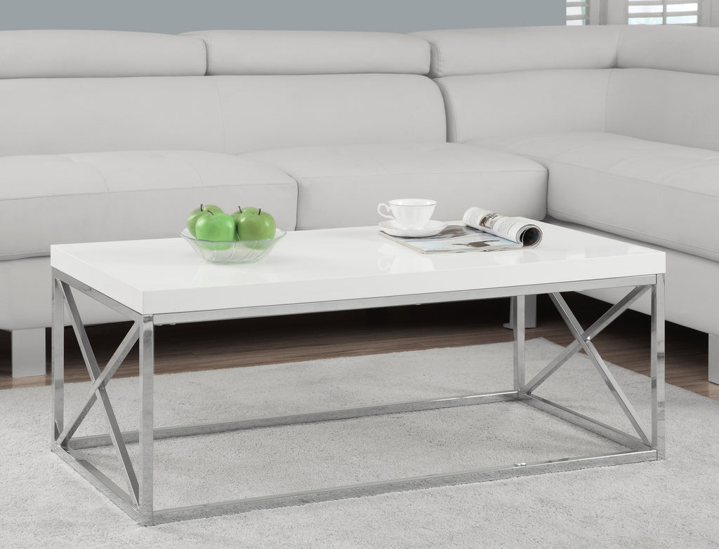 Coffee Table - Glossy White With Chrome Metal - Harvey & Haley