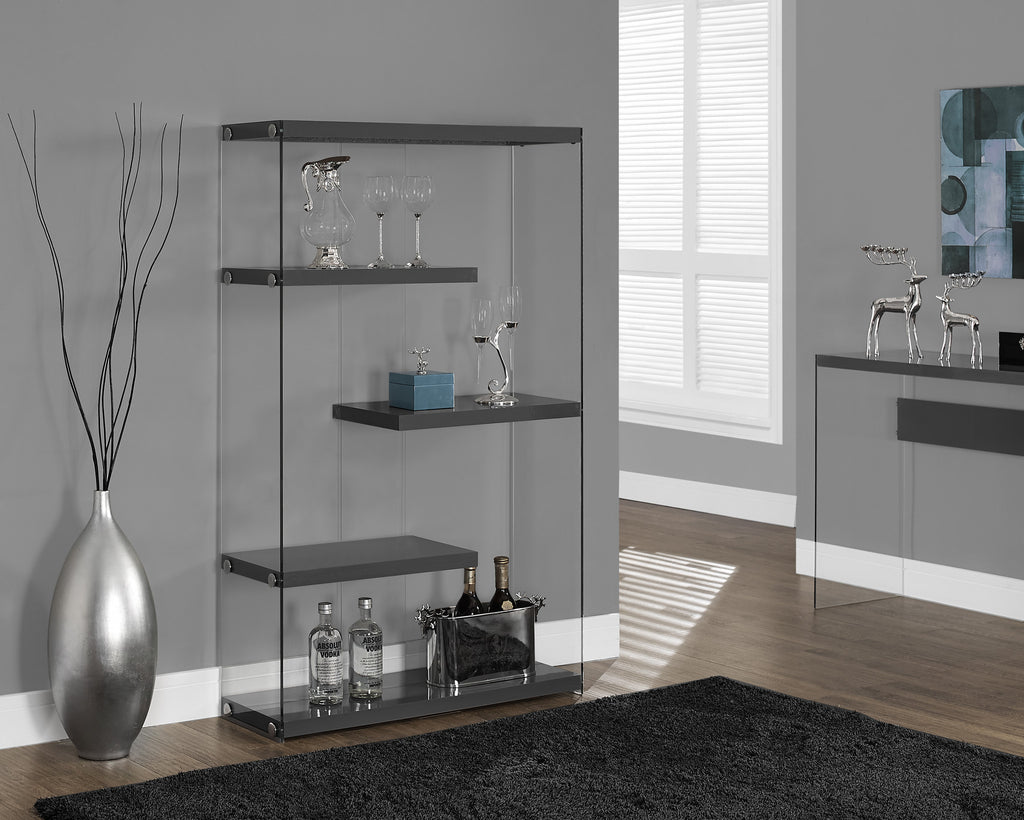 "Bookcase - 60""H / Glossy Grey With Tempered Glass - Harvey & Haley"