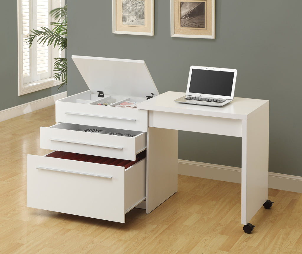 Computer Desk - White Slide-Out With Storage Drawers - Harvey & Haley
