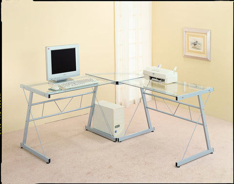 Monarch Specialties L-Shaped Computer Desk with Tempered Glass, Black Metal - Harvey & Haley