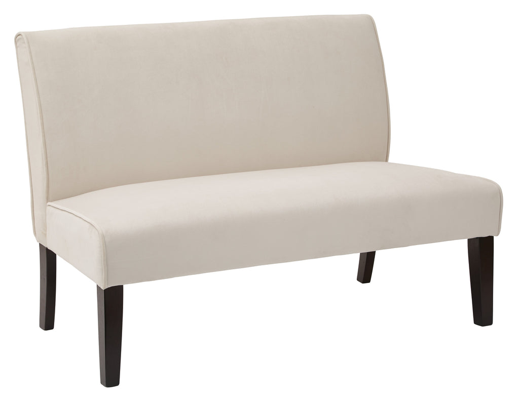 Ave Six Lagua Loveseat in Oyster Velvet fabric and Dark Espresso Legs - Harvey & Haley