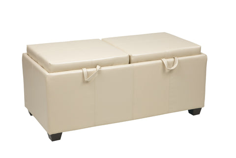 OSP Designs Storage Ottoman in Cream with Dual Trays & Seat Cushions - Harvey & Haley